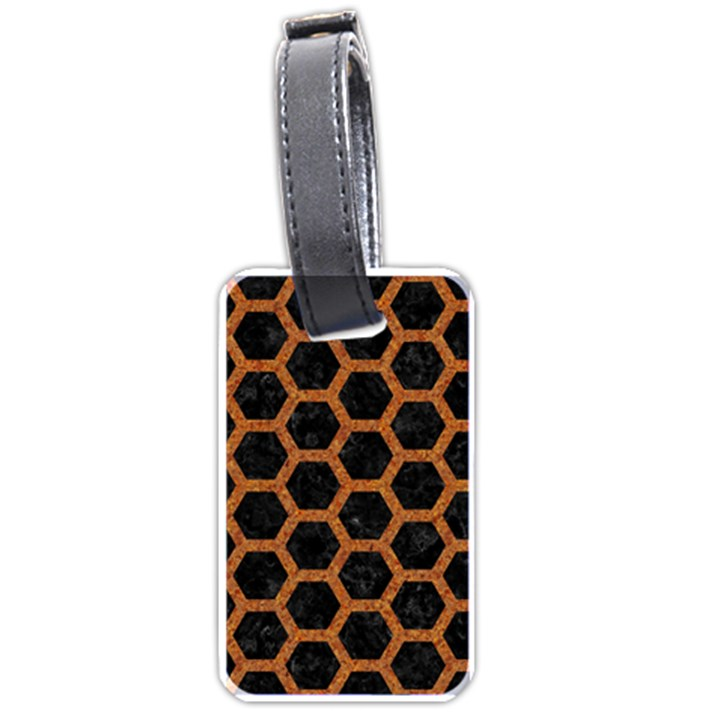 HEXAGON2 BLACK MARBLE & RUSTED METAL (R) Luggage Tags (Two Sides)