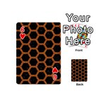 HEXAGON2 BLACK MARBLE & RUSTED METAL (R) Playing Cards 54 (Mini)  Front - Heart6