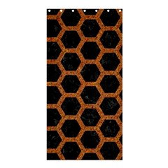 Hexagon2 Black Marble & Rusted Metal (r) Shower Curtain 36  X 72  (stall)