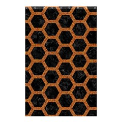 Hexagon2 Black Marble & Rusted Metal (r) Shower Curtain 48  X 72  (small)