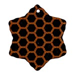 HEXAGON2 BLACK MARBLE & RUSTED METAL (R) Ornament (Snowflake) Front