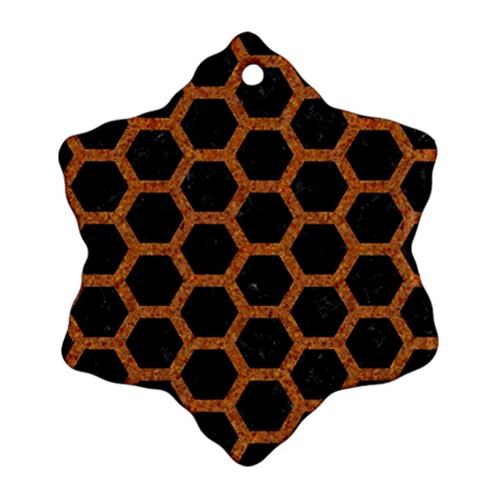 HEXAGON2 BLACK MARBLE & RUSTED METAL (R) Ornament (Snowflake)