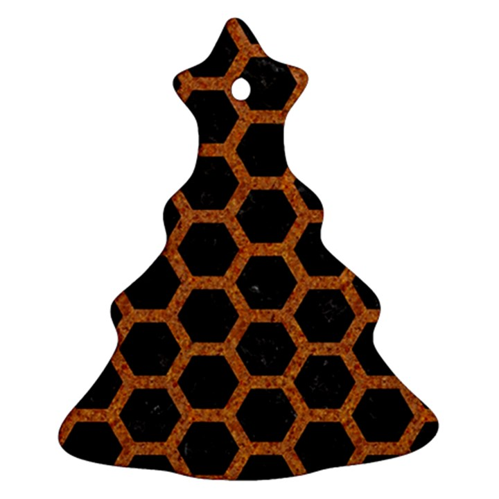 HEXAGON2 BLACK MARBLE & RUSTED METAL (R) Christmas Tree Ornament (Two Sides)