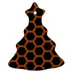 HEXAGON2 BLACK MARBLE & RUSTED METAL (R) Christmas Tree Ornament (Two Sides) Back