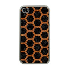 Hexagon2 Black Marble & Rusted Metal (r) Apple Iphone 4 Case (clear)