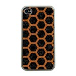 HEXAGON2 BLACK MARBLE & RUSTED METAL (R) Apple iPhone 4 Case (Clear) Front