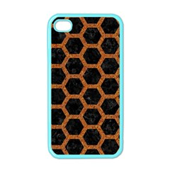 Hexagon2 Black Marble & Rusted Metal (r) Apple Iphone 4 Case (color)