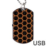 HEXAGON2 BLACK MARBLE & RUSTED METAL (R) Dog Tag USB Flash (Two Sides) Front