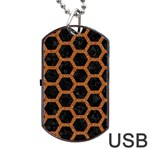 HEXAGON2 BLACK MARBLE & RUSTED METAL (R) Dog Tag USB Flash (Two Sides) Back