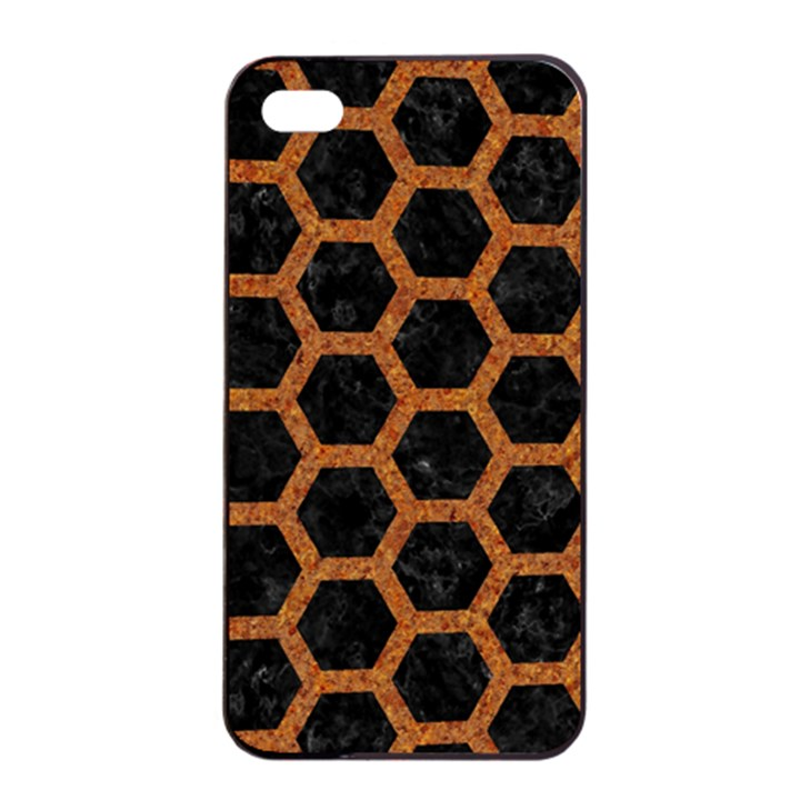 HEXAGON2 BLACK MARBLE & RUSTED METAL (R) Apple iPhone 4/4s Seamless Case (Black)