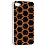 HEXAGON2 BLACK MARBLE & RUSTED METAL (R) Apple iPhone 4/4s Seamless Case (White) Front