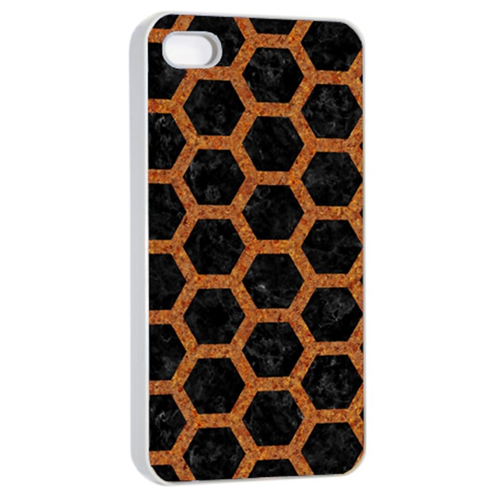 HEXAGON2 BLACK MARBLE & RUSTED METAL (R) Apple iPhone 4/4s Seamless Case (White)