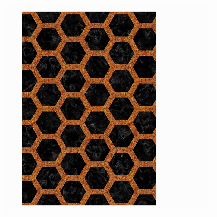 HEXAGON2 BLACK MARBLE & RUSTED METAL (R) Small Garden Flag (Two Sides)