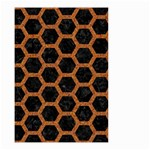 HEXAGON2 BLACK MARBLE & RUSTED METAL (R) Small Garden Flag (Two Sides) Back