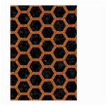 HEXAGON2 BLACK MARBLE & RUSTED METAL (R) Large Garden Flag (Two Sides) Front