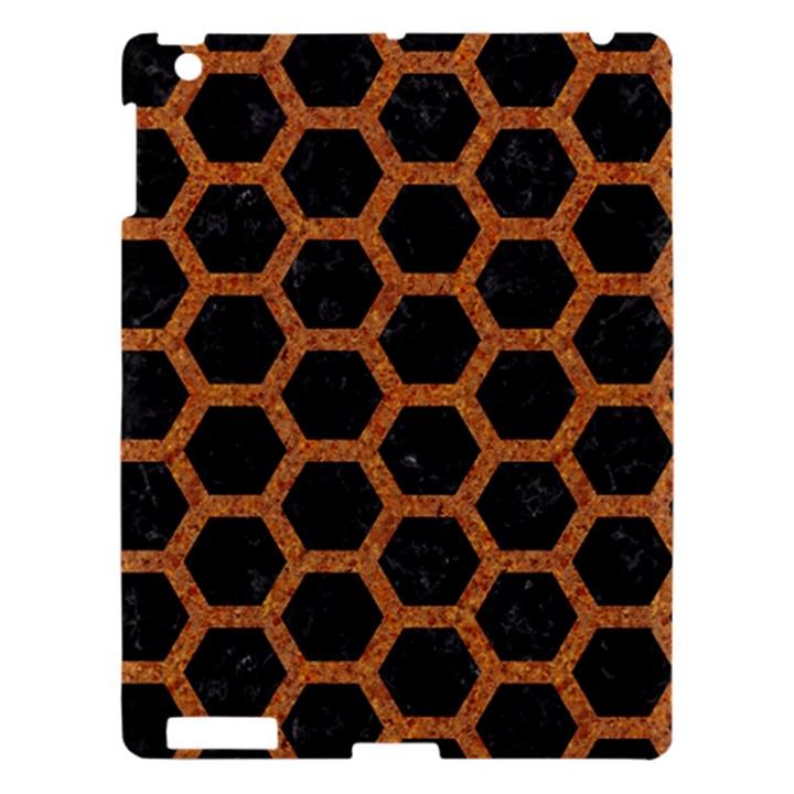 HEXAGON2 BLACK MARBLE & RUSTED METAL (R) Apple iPad 3/4 Hardshell Case