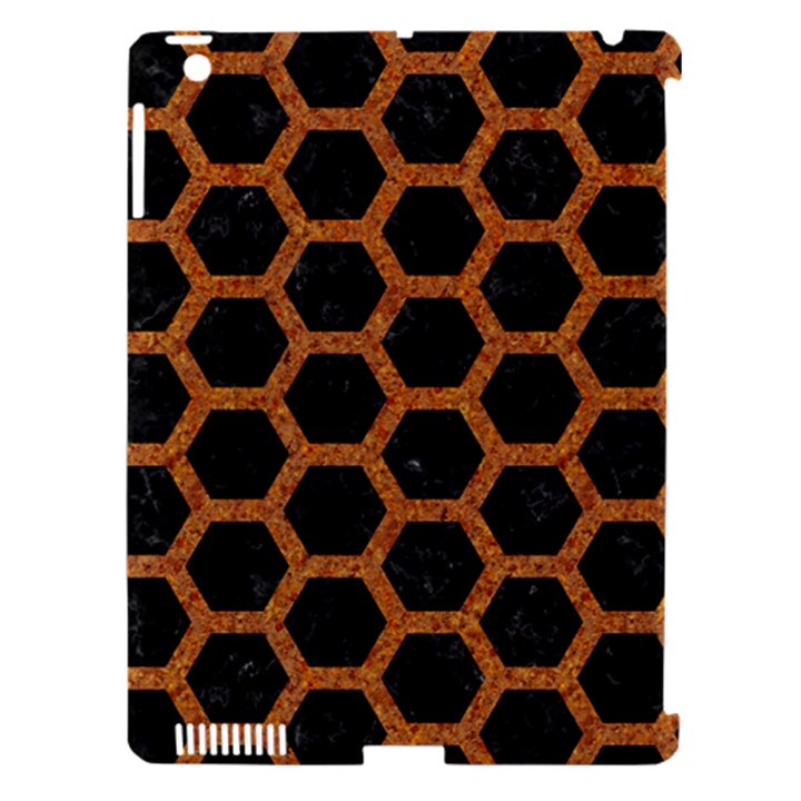 HEXAGON2 BLACK MARBLE & RUSTED METAL (R) Apple iPad 3/4 Hardshell Case (Compatible with Smart Cover)