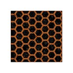 HEXAGON2 BLACK MARBLE & RUSTED METAL (R) Acrylic Tangram Puzzle (4  x 4 ) Front