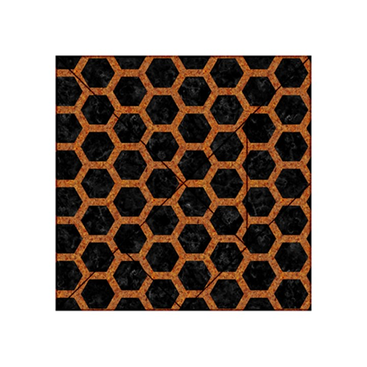 HEXAGON2 BLACK MARBLE & RUSTED METAL (R) Acrylic Tangram Puzzle (4  x 4 )