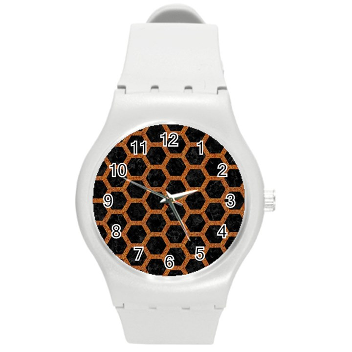 HEXAGON2 BLACK MARBLE & RUSTED METAL (R) Round Plastic Sport Watch (M)