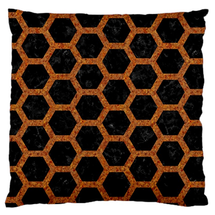 HEXAGON2 BLACK MARBLE & RUSTED METAL (R) Large Cushion Case (One Side)