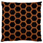 HEXAGON2 BLACK MARBLE & RUSTED METAL (R) Large Cushion Case (Two Sides) Back