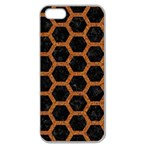 HEXAGON2 BLACK MARBLE & RUSTED METAL (R) Apple Seamless iPhone 5 Case (Clear) Front