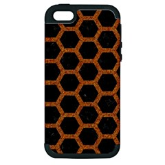 Hexagon2 Black Marble & Rusted Metal (r) Apple Iphone 5 Hardshell Case (pc+silicone)