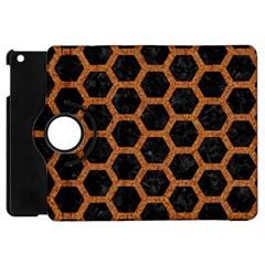 Hexagon2 Black Marble & Rusted Metal (r) Apple Ipad Mini Flip 360 Case