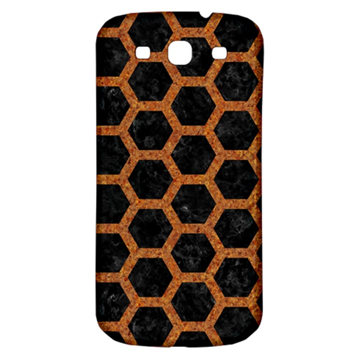 HEXAGON2 BLACK MARBLE & RUSTED METAL (R) Samsung Galaxy S3 S III Classic Hardshell Back Case