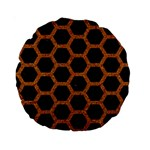 HEXAGON2 BLACK MARBLE & RUSTED METAL (R) Standard 15  Premium Round Cushions Back