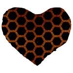 HEXAGON2 BLACK MARBLE & RUSTED METAL (R) Large 19  Premium Heart Shape Cushions Front