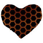 HEXAGON2 BLACK MARBLE & RUSTED METAL (R) Large 19  Premium Heart Shape Cushions Back