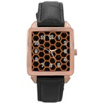 HEXAGON2 BLACK MARBLE & RUSTED METAL (R) Rose Gold Leather Watch  Front