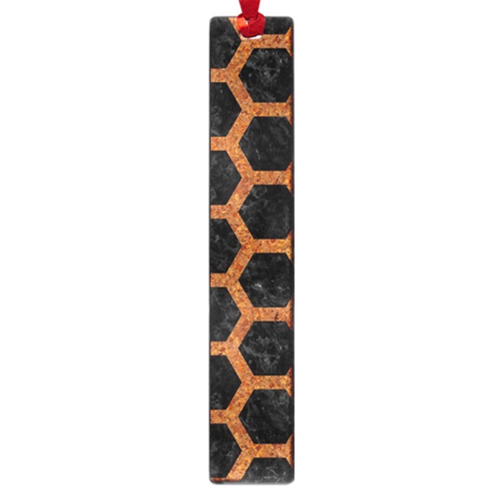 HEXAGON2 BLACK MARBLE & RUSTED METAL (R) Large Book Marks
