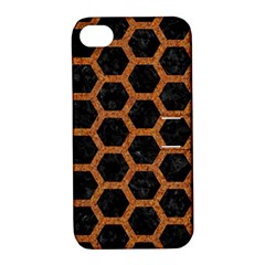 Hexagon2 Black Marble & Rusted Metal (r) Apple Iphone 4/4s Hardshell Case With Stand