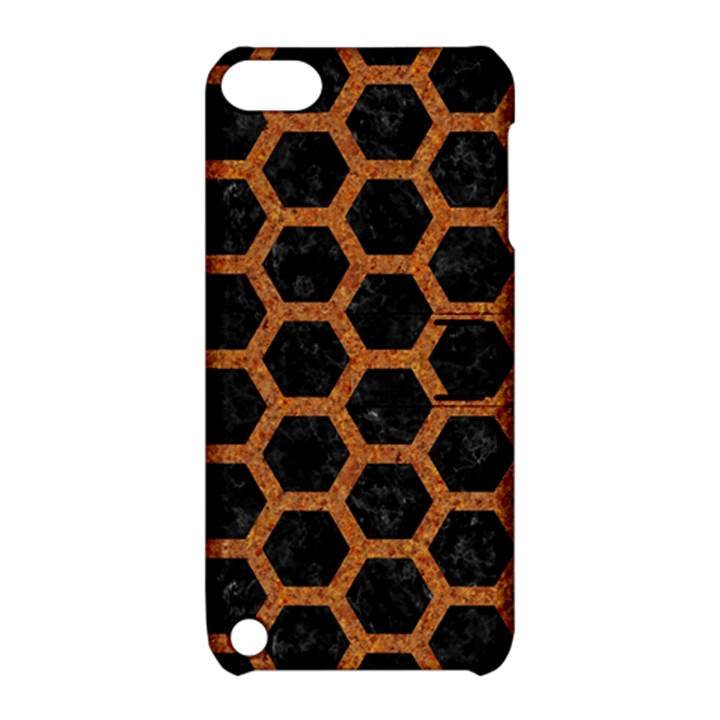 HEXAGON2 BLACK MARBLE & RUSTED METAL (R) Apple iPod Touch 5 Hardshell Case with Stand