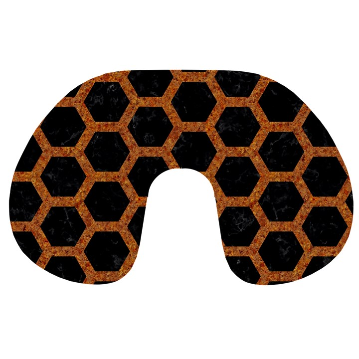 HEXAGON2 BLACK MARBLE & RUSTED METAL (R) Travel Neck Pillows