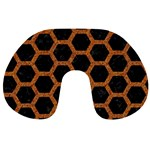 HEXAGON2 BLACK MARBLE & RUSTED METAL (R) Travel Neck Pillows Back