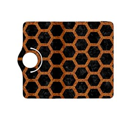 Hexagon2 Black Marble & Rusted Metal (r) Kindle Fire Hdx 8 9  Flip 360 Case