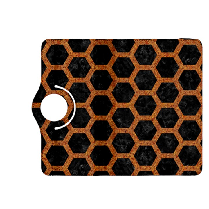 HEXAGON2 BLACK MARBLE & RUSTED METAL (R) Kindle Fire HDX 8.9  Flip 360 Case