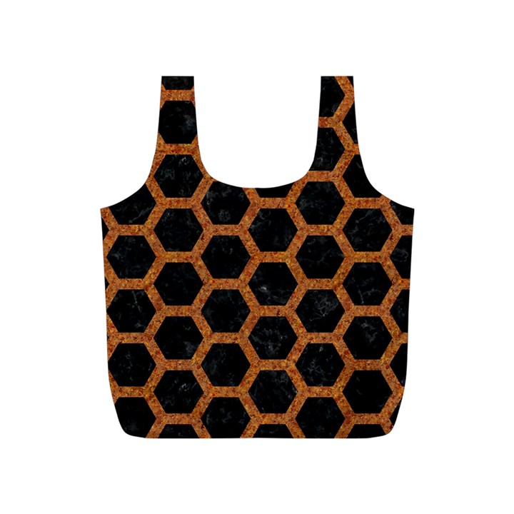 HEXAGON2 BLACK MARBLE & RUSTED METAL (R) Full Print Recycle Bags (S)