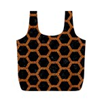HEXAGON2 BLACK MARBLE & RUSTED METAL (R) Full Print Recycle Bags (M)  Front
