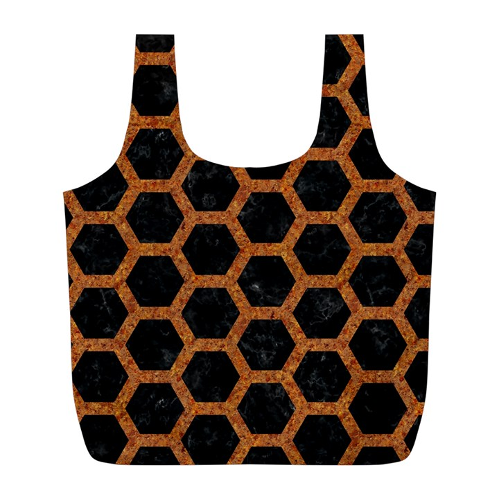 HEXAGON2 BLACK MARBLE & RUSTED METAL (R) Full Print Recycle Bags (L)