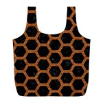 HEXAGON2 BLACK MARBLE & RUSTED METAL (R) Full Print Recycle Bags (L)  Back