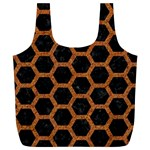 HEXAGON2 BLACK MARBLE & RUSTED METAL (R) Full Print Recycle Bags (L)  Front
