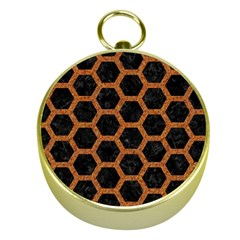 Hexagon2 Black Marble & Rusted Metal (r) Gold Compasses