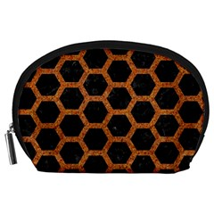 Hexagon2 Black Marble & Rusted Metal (r) Accessory Pouches (large)