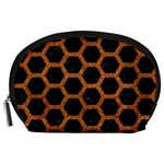 HEXAGON2 BLACK MARBLE & RUSTED METAL (R) Accessory Pouches (Large)  Front