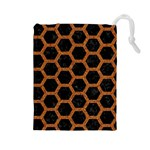 HEXAGON2 BLACK MARBLE & RUSTED METAL (R) Drawstring Pouches (Large)  Front